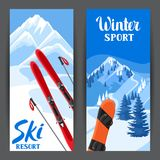 Winter ski resort banners. Beautiful landscape with alpine chalet houses, snowboard, snowy mountains and fir forest.  Stock Images