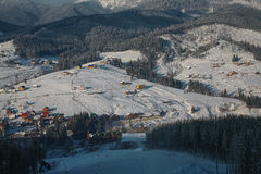 Winter ski resort in the Carpathian Mountains. Panorama ski resort.Ski town in the lowlands Stock Photography