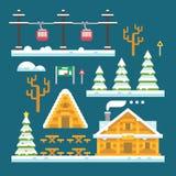 Winter ski resort flat design. Illustration Stock Photo