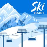 Winter ski resort illustration. Beautiful landscape. With rope way, snowy mountains and fir forest Stock Photos