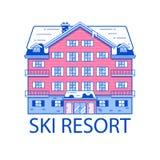 Winter Ski Resort Line Illustration Stock Photo