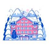 Winter Ski Resort Monoline Landscape Stock Photo