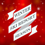 Winter ski resort season on red background Stock Photography