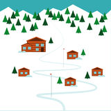 Winter ski resort Vector illustration. Ski resort on the top of the mountain and forest Flat design Stock Photo