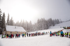 Winter ski school Stock Image