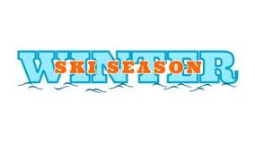 Winter ski season - words on the word vector illustration