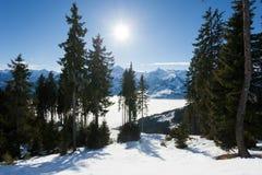 Winter with ski slopes of kaprun resort Royalty Free Stock Image