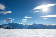 Winter with ski slopes of kaprun resort Royalty Free Stock Photo