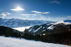 Winter with ski slopes of kaprun resort Stock Images