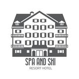 Winter Ski and Spa Resort Hotel Logo Royalty Free Stock Image