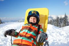 Winter, ski, sun and fun. Stock Images