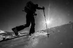 Winter ski touring ascent Royalty Free Stock Photos