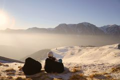 Winter, ski - woman enjoying winter on ski vacation Royalty Free Stock Images