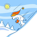 Winter: skiing bear Royalty Free Stock Photos
