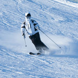 Winter skiing. From the mountain Stock Photo
