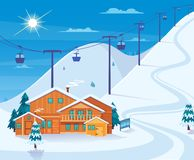 Winter Skiing Resort Illustration. Winter skiing resort with snow hotel and ski lifts flat vector illustration Royalty Free Stock Images