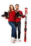 Winter skiing Royalty Free Stock Image