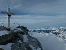 Winter skitouring adventure in granastpitzgruppe mountains in austrian alps royalty free stock photo