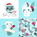 Winter skulls illustrations set Stock Photos