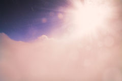 Winter sky extremely highly mountains clouds sun beam bokeh abstract background Stock Photography