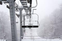 Winter sky lift stock photo