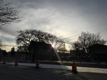 Winter Sky Lights. After getting off a bus on the way home, I was met with this beautiful scene Royalty Free Stock Photo