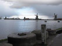 Winter-sky over De Zaanse Schans in Holland. Winter clouds over Holland in February stock photo