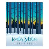 Winter sky with sunset and stars behind silhouette of tall bare trees. Winter Solstice greeting card design. Colorful evening sky with sunset and stars behind Royalty Free Stock Photos