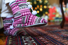 Winter slippers Royalty Free Stock Images