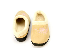 Winter Slippers with fur isolated Royalty Free Stock Image