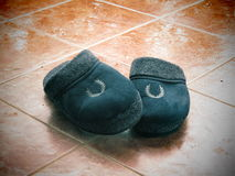 Winter Slippers in Rainy winter day Stock Images