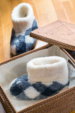 Winter slippers. In a wicker basket Royalty Free Stock Photography