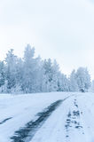 Winter slippery road after snow blizard Royalty Free Stock Photo