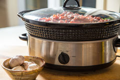 Winter slow cooker meal. Preparing ahead of time makes hearty slow cooker meals are a favorite for fall and winter cooking Stock Image