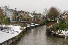 Winter in a small Dutch village royalty free stock image