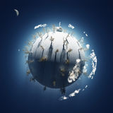 Winter on small planet stock illustration