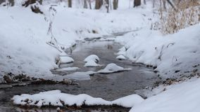 Winter Small River Flowing stock video footage