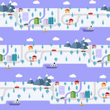 Winter small town on the island. Seamless pattern Royalty Free Stock Image