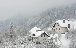 Winter in small village Stock Image