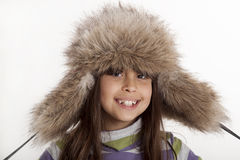 Winter smile. Young child posing for winter time Stock Photography