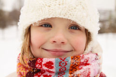 Winter - the smiling girl Stock Photos
