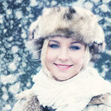 Winter Smiling Woman Stock Images