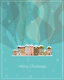 Winter smoking country houses christmas card Stock Photography