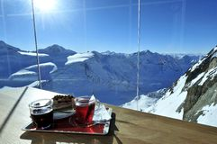 Winter Snack. Small winter snack on the table in the alpine restaurant in Pitztal - Austria stock image