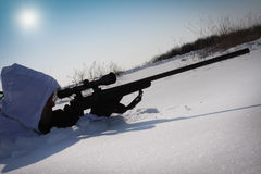 Winter sniper Stock Photography