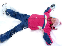 Winter snow angel Stock Photo