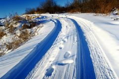Winter Snow. The Asian Winter covered the ground. Snow gleams white Stock Photo