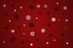 Winter Snow Background. Black And White Snowflakes On Red, Winter Snow Background Vector Illustration