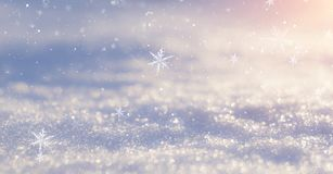 Winter snow background, blue color, snowflakes, Winter snow background, blue color, snowflakes, sunlight, macro. Winter frosty morning. Winter snow background stock photography