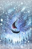 Winter snow background. Blurred snowflakes on Original oil painting - Christmas royalty free stock image